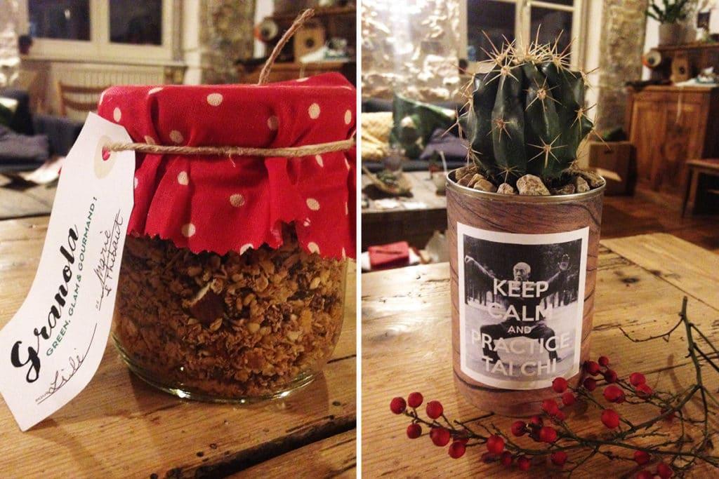 Granola maison et cactus rempoté dans une boite de conserve upcyclée
