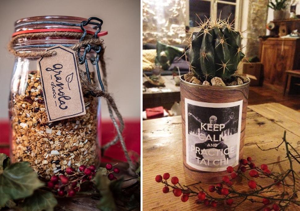 Idées cadeaux maison : granola et cactus dans conserve upcyclée