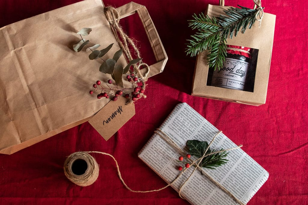Emballage ecologique et zéro déchet pour les cadeaux de Noël